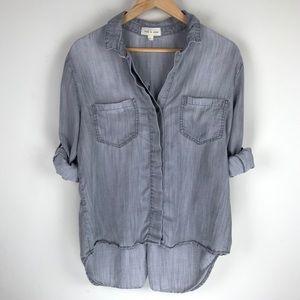 Cloth & Stone Grey Chambray Split-Tail Shirt Sz. L